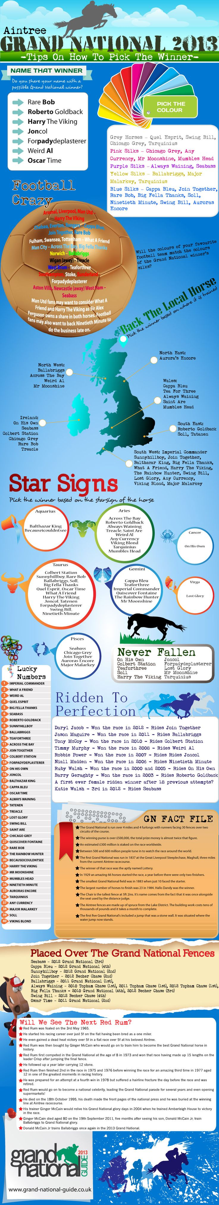 This infographic helps punters pick their Grand National 2013 Tips. You can pick a Grand National runner based on the names, the colours of the silks,
