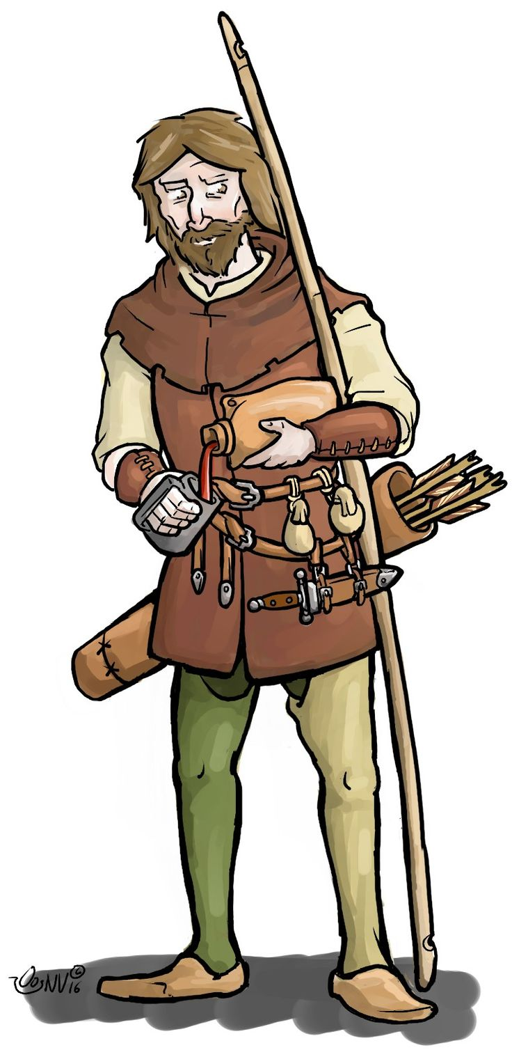 Longbowman, medieval archer drinking wine. Made for a http://stage-rpg.com/ campaign