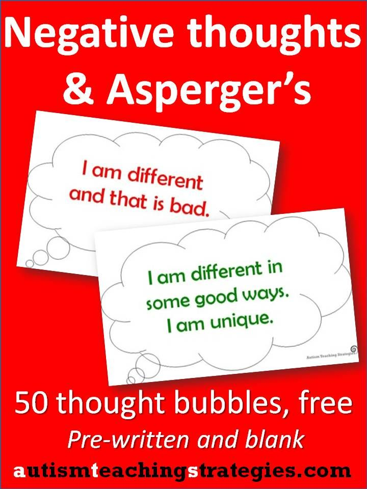 Children with Asperger's and other autism spectrum disorders may experience a variety of upsetting emotions.  According to cognitive-behavioral therapy concepts, individuals can learn to identify thoughts influencing their negative emotions and then alter them.  These thought bubbles are easy to print out. You (not just mental health professionals, but SLP's, teachers, anyone) can use these simple visuals in a variety of helpful games, matching activities and discussions.