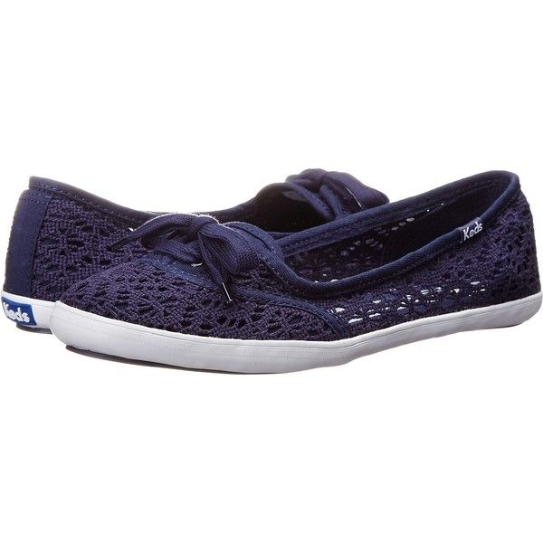 Keds Teacup Crochet Women's Shoes, Navy ($34) ❤ liked on Polyvore featuring shoes, navy, crochet shoes, navy blue shoes, keds footwear, pull on shoes and laced shoes