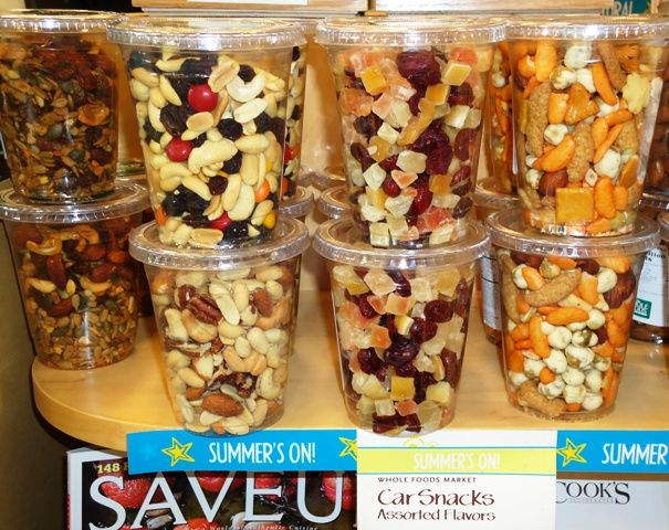 Snack mix in lidded cups to fit in cup holders! Genius!