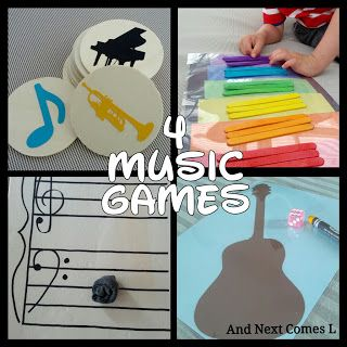 And Next Comes L: Four Music Games for Toddlers & Preschoolers Play homemade Hullabaloo with instruments to review strings, percussion, and wind instruments.