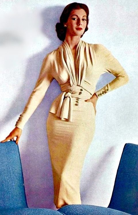 Nina Ricci, 1952, interesting twists and drape in the front of this dress - also love the tight fitting sleeve with button detail