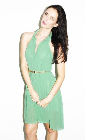 Gemma Green Pleated Shirt Dress $40