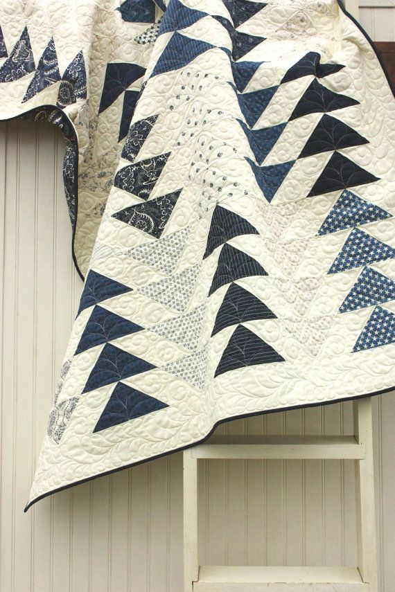 Oh. I want to make a two color quilt. Love the indigos