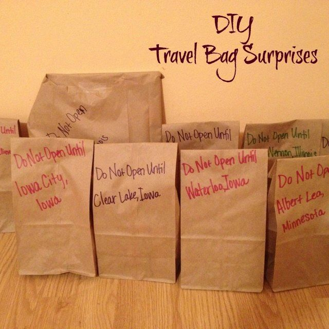 Are you taking a holiday trip this weekend with the kids??   To keep the kids happy in the car, a mystery surprise bag is given to them about each hour. They get a map with each city marked, and they have to follow the route ad ask for the bag when driving through each city. Bags are filled with snacks, small toys and games.