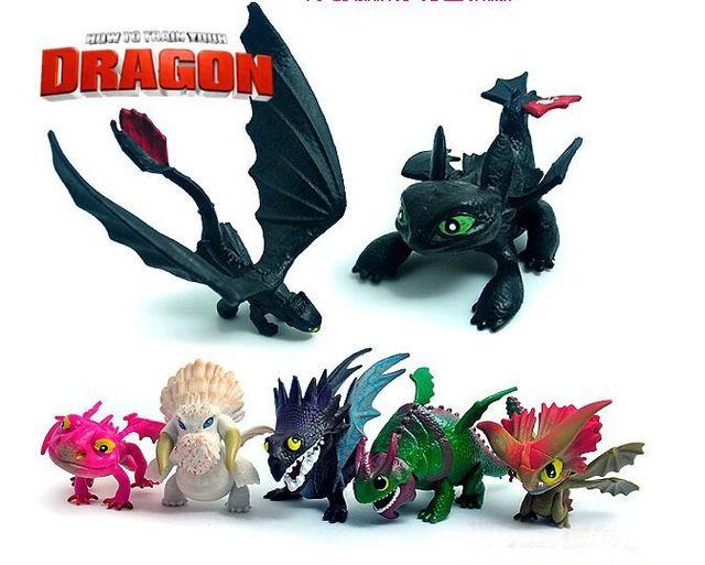 Nieuwe aankomst!! 7 stuks/pack hoe om te trainen uw draak nacht woede tandeloze draak nachtmerrie 5cm pvc action figures speelgoed model pop