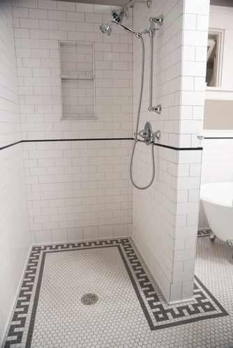 Historic reproduction Subway tile for the walls and Unglazed porcelain hexagons for the floor. – There is no glazing or any other coating applied to the tile. Their color is the same on the face of the tile as it is on the back resulting in very durable tiles that do not show the effects of heavy traffic.    http://www.restorationtile.com/