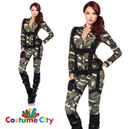 Adult-Womens-Pretty-Paratrooper-Army-Military-Fancy-Dress-Sexy-Halloween-Costume