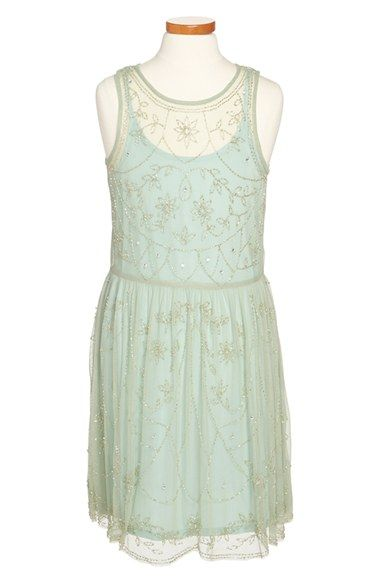 Free shipping and returns on Ruby & Bloom Beaded Dress (Big Girls) at Nordstrom.com. Silvery bugle beads trace pretty loops and flowers across the gauzy, crystal-dotted overlay of an utterly charming slipdress.