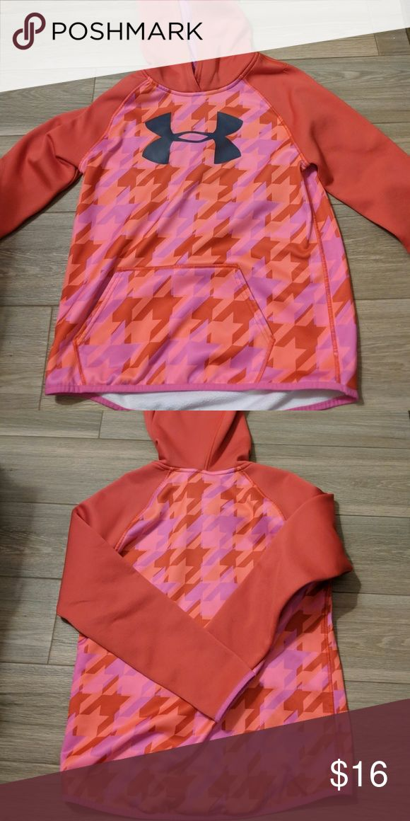 An under armour kids sweatshirt Orange red pink pattern with the under armour logo and  red sleeves Under Armour Sweaters