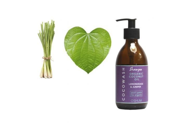 COCOWASH SHAMPOO LEMONGRASS & JUNIPER Champú a base de coco y áloe orgánico, con aceite esencial de zacate limón y enebro. Revitaliza y fortifica el cabello.  Contiene aceite de coco y áloe vera orgánico para una limpieza súper nutritiva y orgánica. Estimula el crecimiento. Previene la caspa. Restablece la fuerza y brillo natural del cabello sano.  *No contiene químicos *Orgánico *Libre de crueldad *Vegano.  INGREDIENTES: INFUSION DE NEEM ORGÁNICO, ACEITE DE COCO ORGANICO SAPONIFICADO, A...