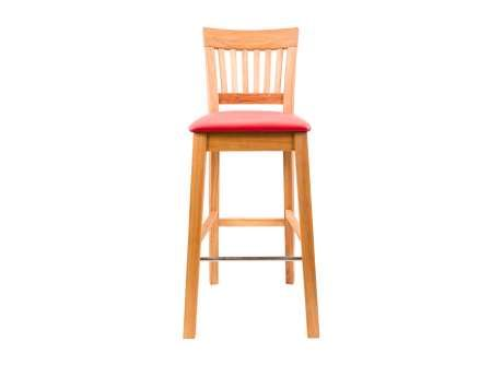 Java Red Leather Solid Oak Tall Bar Stool