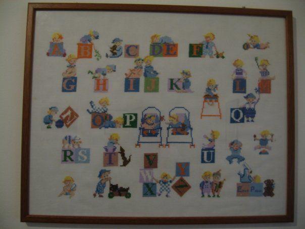 quadro abc punto croce per cameretta bambini