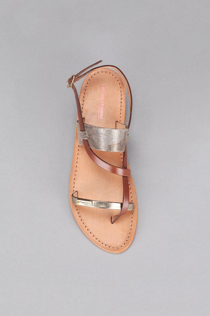 Sandales dorées cuir reptile Baule