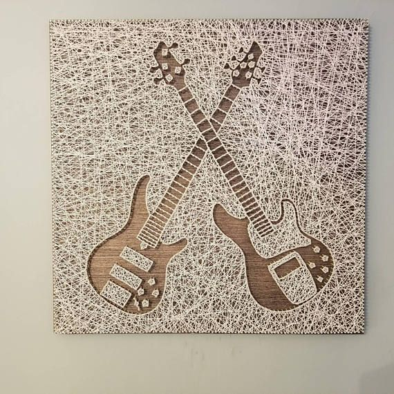 Check out this item in my Etsy shop https://www.etsy.com/listing/591322821/dual-bass-guitars-string-art