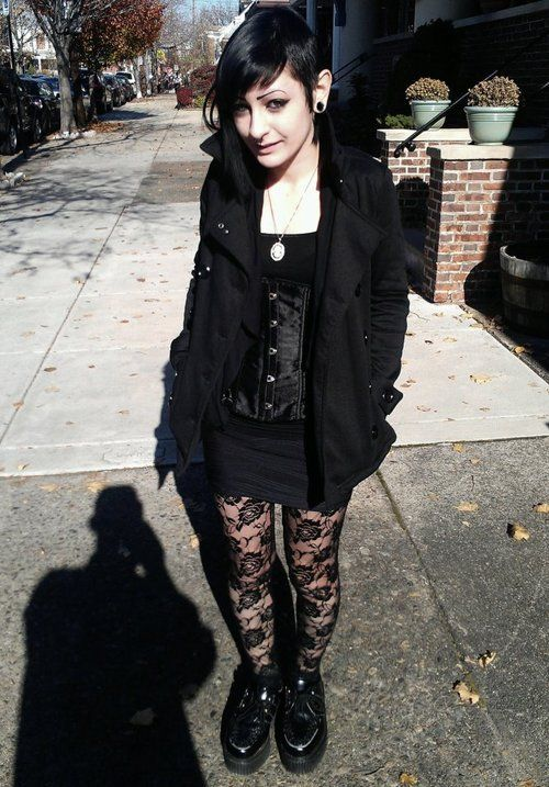 ★ ★ ★ ★ ★ five stars (black floral lace pantyhose, black creepers, black mini dress, black corset, black pea coat, white pendant necklace, black gauges) brings the graveyard to the streets
