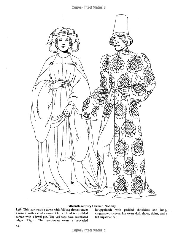 Medieval fashions coloring book 72