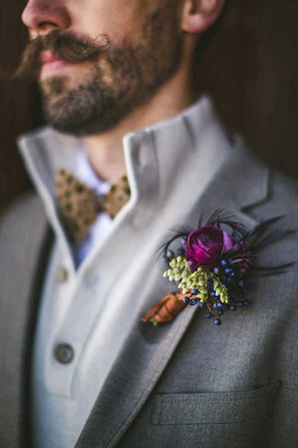 rich colored boutonniere // photo by The Willinghams // flowers by Bare Root Flora
