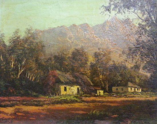 S2852 Tinus De Jongh Cape Dutch House Oil on Canvas 23cmx28cm