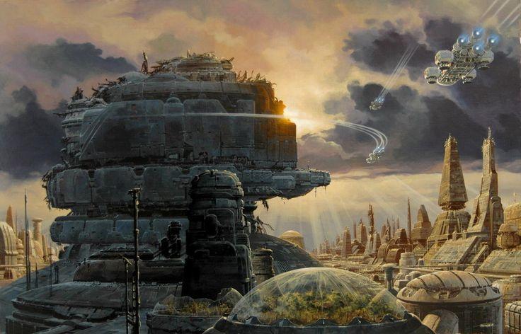 concept ships: MANCHU Monday: 50x65cm sci-fi traditional illustration