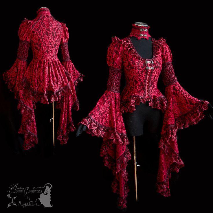 Red blouse, victorian, art nouveau, goth, vampire by SomniaRomantica.deviantart.com on @DeviantArt