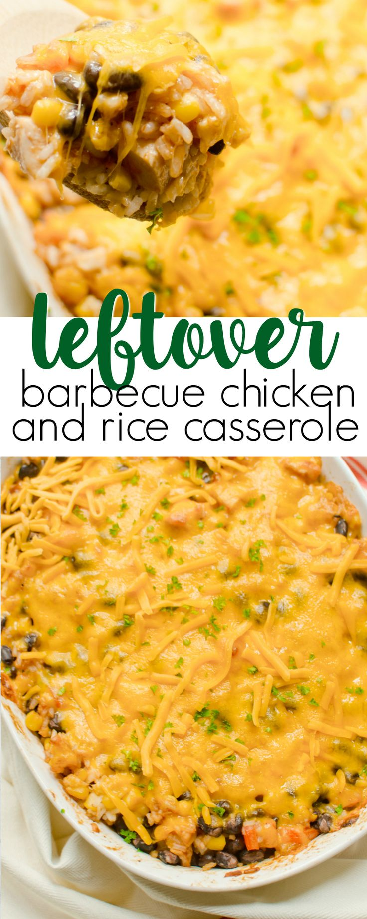 This leftover BBQ Chicken and Rice Casserole is quick and easy to make, perfect for a summer night!