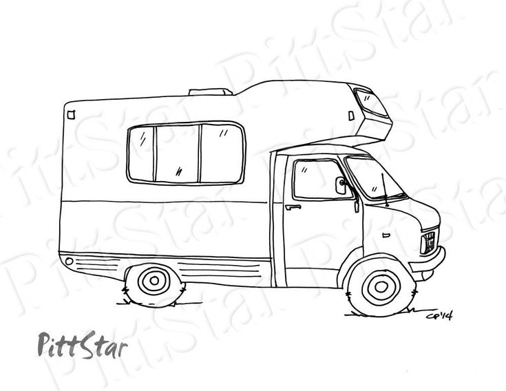 Instant Download Class C Motorhome Printable Coloring Page In 2021 Coloring Pages Line Art Printable Coloring Pages