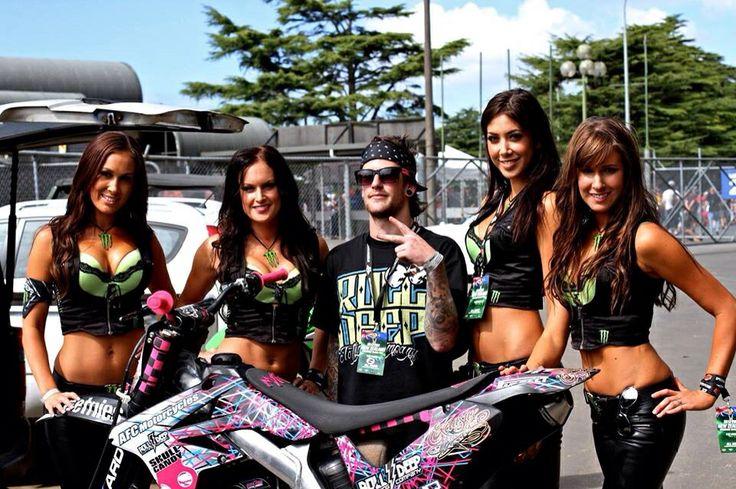 Monster Energy Girls NZ - #HBelite  #NZSGP Brooke, Erin, Tania, Cody with Motomayhem fmx rider Mitch Maddog McHardy info@HBelite.com