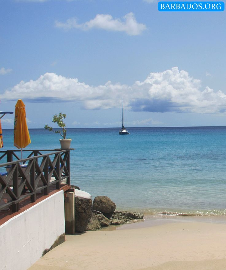 Beach next to Fisherman's Pub restaurant in Speightstown on the north-west coast of Barbados.