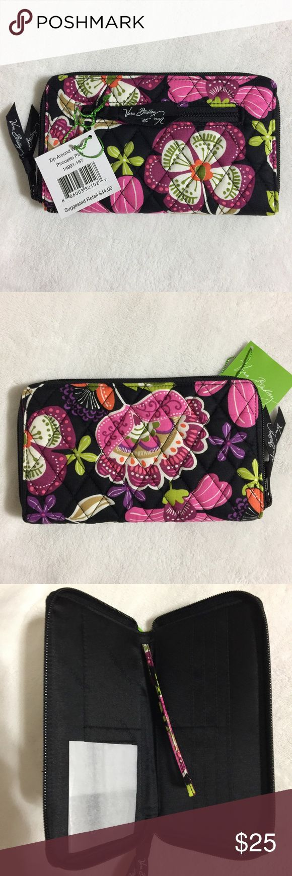 """Vera Bradley Zip Around Wallet Pirouette Pink NEW WITH TAGS Authentic Vera Bradley Zip Around Wallet with wrist strap in Pirouette Pink  • Dimensions: 8"""" x 5""""  • Exterior change pocket  • Interior: full length cash slip pocket, seven card slots, ID compartment and wrist strap. • MSRP $44.00  * Comes from a smoke free pet free home. * Pattern placement may be different than pictured, have more than one for sale.  🎀 I have more VERA BRADLEY, Check out my other items!  ❌ PRICE FIRM  ❤️ LIKE ME…"""