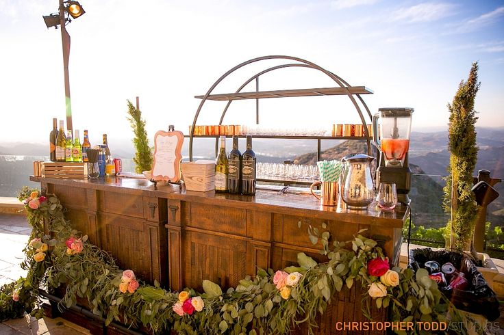 custom bar at wedding malibu rocky oaks