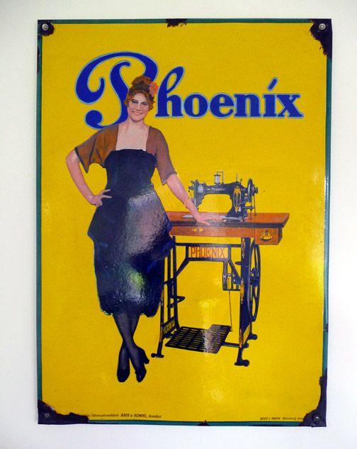Emaille reclameborden - Phoenix Naaimachines