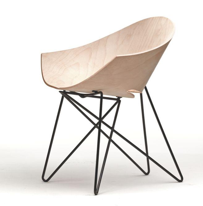 Roman Modzelewski; #RM56 Enameled Metal and Molded Plywood Chair, 1946.