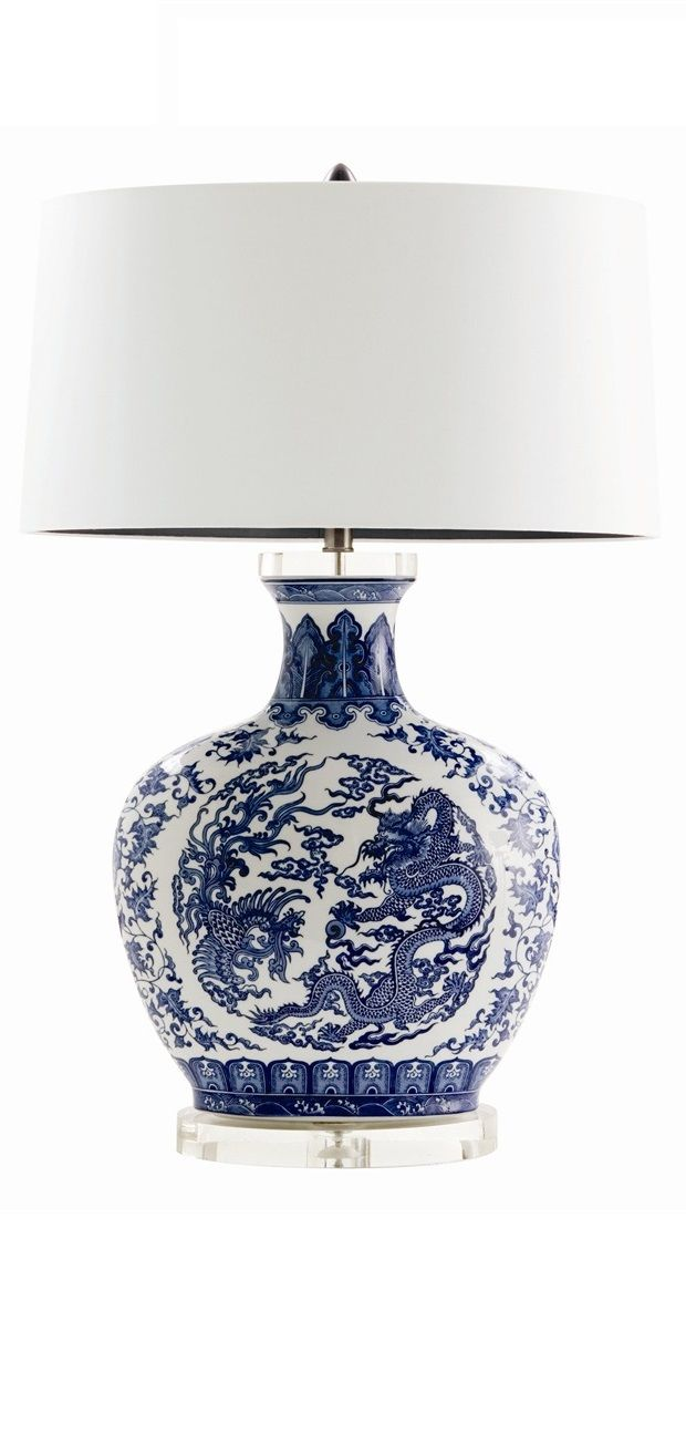 Blue And White Lamp Lamps Table Porcelain Decor B