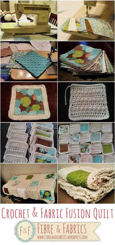 Check out @fibreandfabrics #crochet & #fabric fusion quilt - Fibreandfabrics Crafts Blog http://wp.me/p4kypa-3b