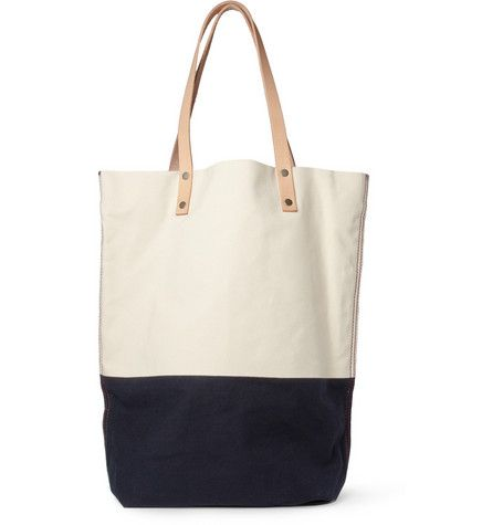 Two-Tone Canvas and Leather Tote Bag / Levi's Made & Crafted: Two Ton Canvas, Leather Totes Bags, Men Accessories, Crafts Two Ton, Twoton Canvas, Accessories Bags, Beaches Bags, Tote Bags, Leather Bags