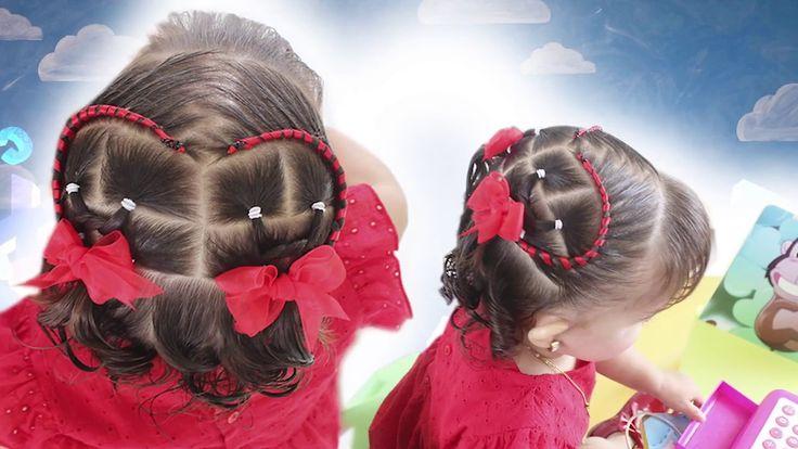 Peinado con trenzas para bebés   Trenza medio corazón con cinta para bebé   Baby hairstyle