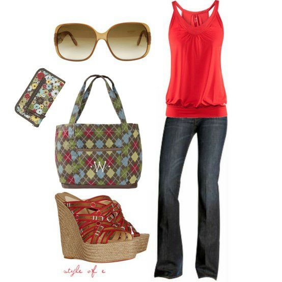 Love the Argyle!  Soft Wallet with XXL Tote to match the wedges and designer jeans! $22.00   www.mythirtyone.com/dianecaudill