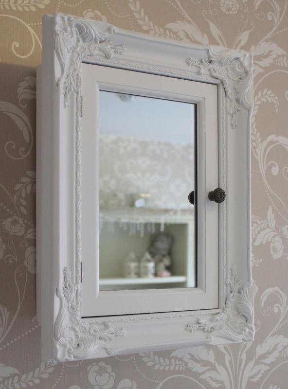 White bathroom storage cabinet with mirror shabby vintage cupboard chic style | eBay £64