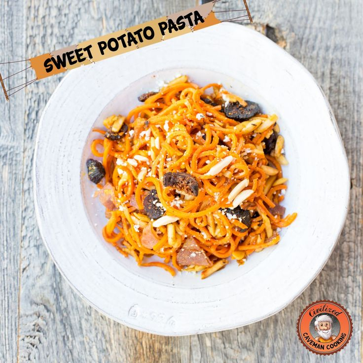 Sweet Potato Pasta with Proscuitto, figs and goat cheese from www.civilizedcavemancooking.com #recipes