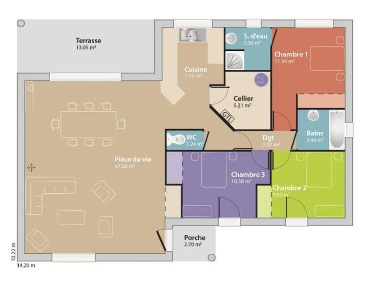 Les 25 meilleures id es de la cat gorie plan maison 100m2 for Concevoir plan maison