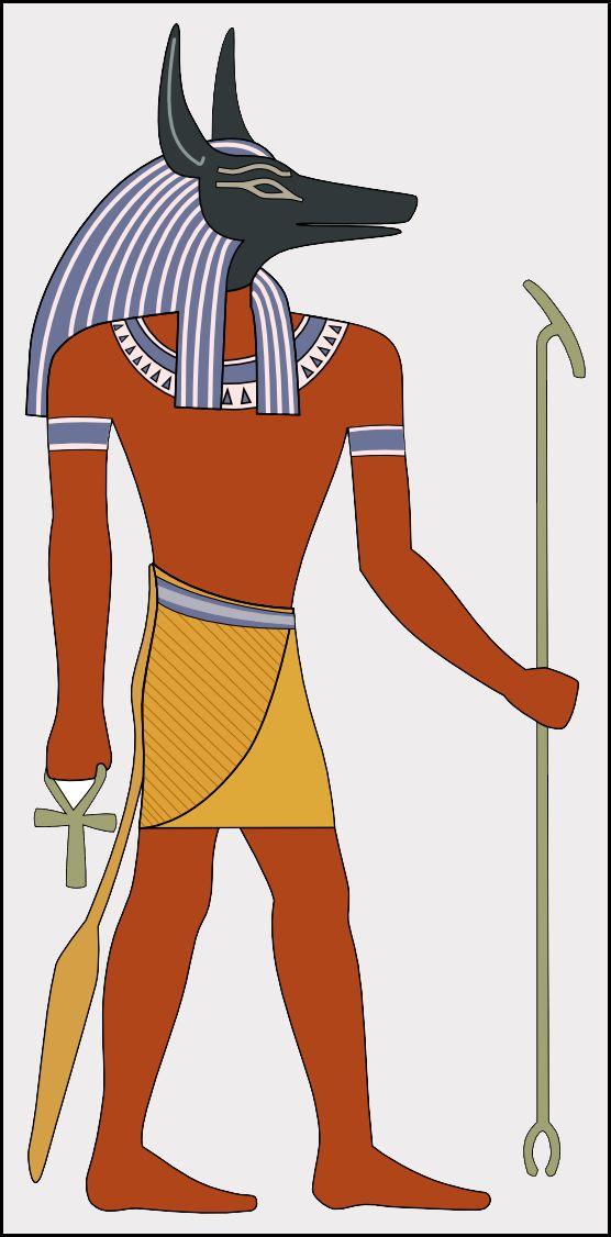 Anubis es el dios de la muerte del antiguo Egipto, maestro de las necrópolis y patrón de embalsamadores, representado como un gran cánido negro acostado sobre su estómago, probablemente un chacal o un perro salvaje, o como un hombre con cabeza de perro. El significado de Anubis, Inpu en egipcio antiguo, Anub en copto, Ἄνουβις (Anoubis) en griego antiguo sigue siendo oscuro: de numerosas explicaciones se han propuesto, pero puede ser solo una onomatopeya que expresa el chacal aullando.