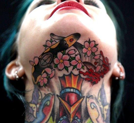 Most Beautiful Neck Tattoos: Neck-tattoo-for-women-1.jpg 548×500 Pixels
