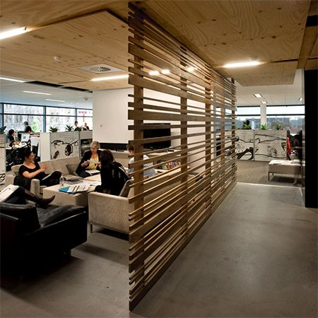 Wood beam plank partition room divider for open plan for Office partition design ideas