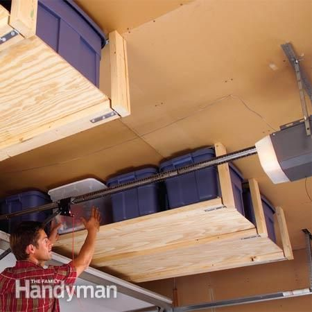 Make full use of space in the garage...  storage above garage doors.