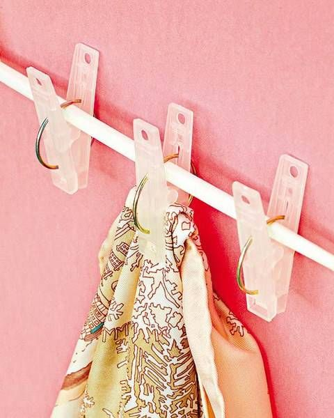 20+ Creative Uses of Tension Rods to Organize Your Home --> Use Tension Rod and Clips to Hang Scarves