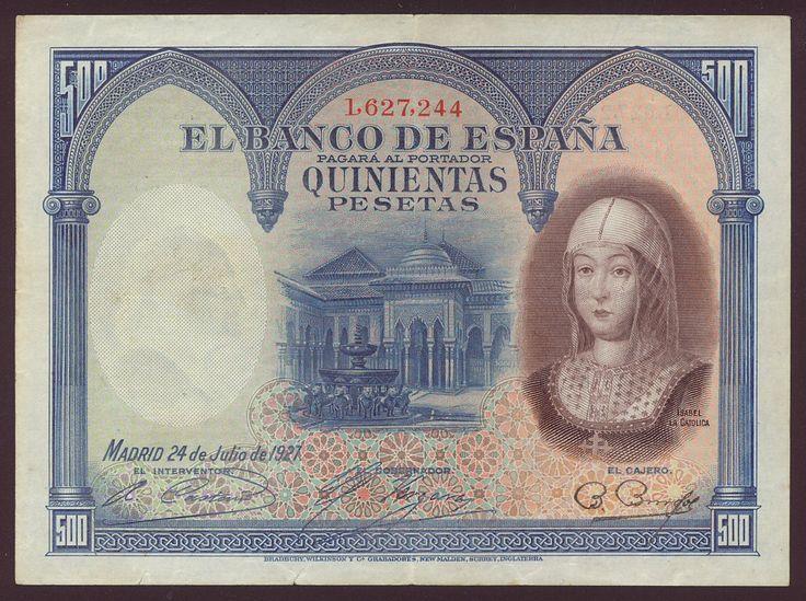 Spain paper money 500 Pesetas note of 1927, Isabel la Catolica. - Obverse: The Court of the Lions at Alhambra at center and portrait of Isabel la Catolica (Isabel I de Castilla - Portrait by Juan de Flandes) at right. Reverse: Coat of arms of Spain.