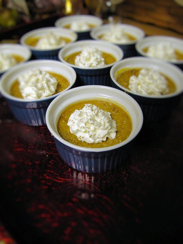 Mini Pumpkin Custards with Ginger Cookie Crust and Spiced Whipped Cre ...