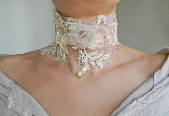 Shabby chic lace collar choker in ivory and pink with pearls and tulle rose, high neck collar necklace by Elyseeart.  If you are the kind of person that loves unique artistic jewelry that really stands out, then consider browsing my shop to find the original piece for you. ♥ Materials: tea dyed embroidered lace, handmade tulle rose, dusty pink lace, organic cotton and faux pearls decor. Its adjustable with hand cut ties at the back-see the photo. Each piece is hand-sewn and assembled by me…